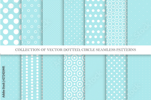 obraz lub plakat Collection of cute polka dot seamless vector patterns in turquoise colors. Aqua blue dotted textures. Geometric design
