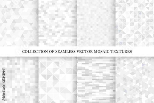 obraz PCV Set of tile geometric vector seamless patterns. White and gray mosaic endless textures.