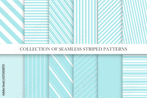 Foto auf AluDibond Künstlich Collection of cute seamless striped patterns in turquoise colors. Delicate geometric repeatable backgrounds