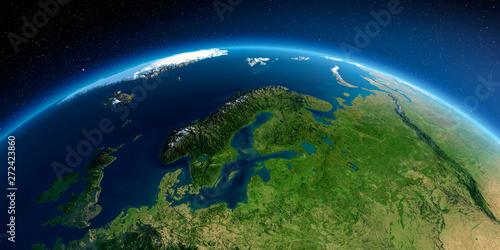 Canvas Print Detailed Earth. European part of Russia