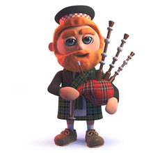 Cartoon 3d Scots Man In Kilt Playing The Scottish Bagpipes
