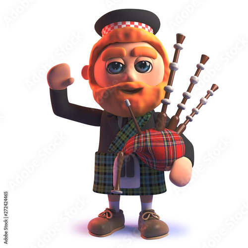 Canvas Print 3d cartoon Scots wearing a kilt and playing the bagpipes while waving