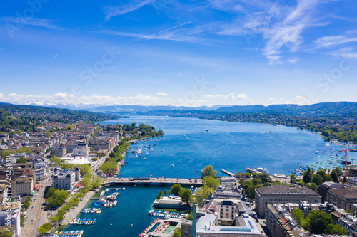 Foto op Aluminium Kust Aerial view of Zurich city in Switzerland