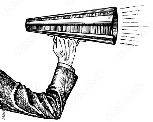 Leinwand Poster Megaphone in hand sketch