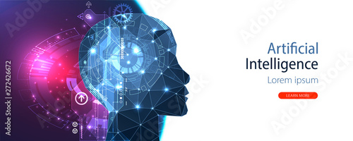 Obraz Artificial intelligence (AI) and big data concept. Machine cyber mind.  Humen face with binary data flow. Technology vector background. - fototapety do salonu