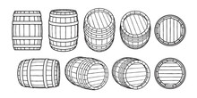 Set Of Wooden Barrels In Different Positions. Front And Side View,black At Different Angles Vector Illustrations Isolated On White.