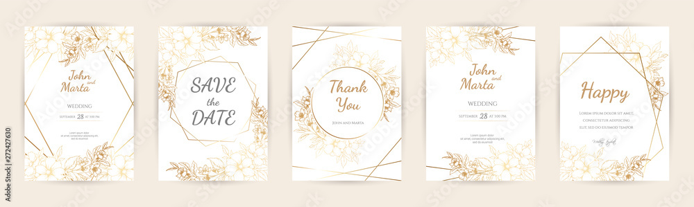 Fototapeta Wedding Invitation with Gold Flowers and gold geometric line design. background with geometric golden frame. Cover design with an ornament of golden leaves. vector eps10