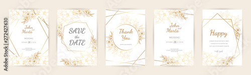Fototapeta Wedding Invitation with Gold Flowers and gold geometric line design. background with geometric golden frame. Cover design with an ornament of golden leaves. vector eps10 obraz