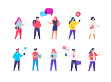 Group People Use Gadgets. Set Of Icons, Illustration. Smartphones Tablets User Interface Social Media.Flat Illustration Icons Infographics. Landing Page Site Print Poster.