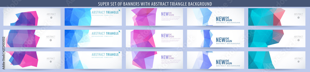 Fototapeta Set of abstract vector banner with triangle background. Template for design