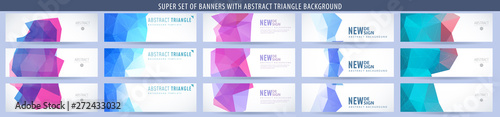 Fototapeta Set of abstract vector banner with triangle background. Template for design obraz