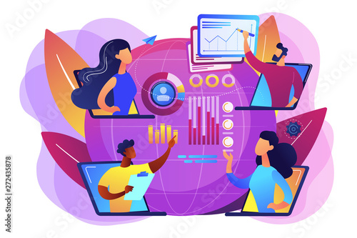 Digital education, internet conference. Online tech talks, technical topics presentations, tech webinars, live technology demonstration concept. Bright vibrant violet vector isolated illustration - 272435878