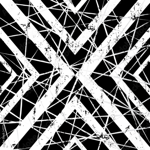 abstract geometric background pattern, with triangle, lines, strokes and splashes, black and white