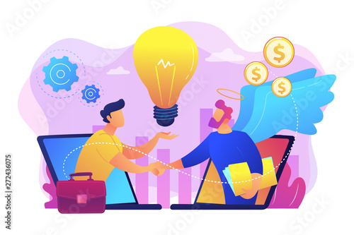 Entrepreneurship funding, initiative investment, idea financing. Angel investor, startup financial support, business professionals help concept. Bright vibrant violet vector isolated illustration - 272436075