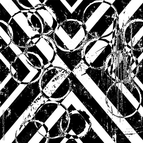 abstract geometric background pattern, with triangle, circles, strokes and splashes, black and white