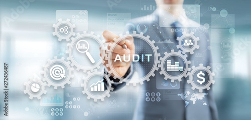 Audit - official financial examination for business as concept on virtual screen Wallpaper Mural