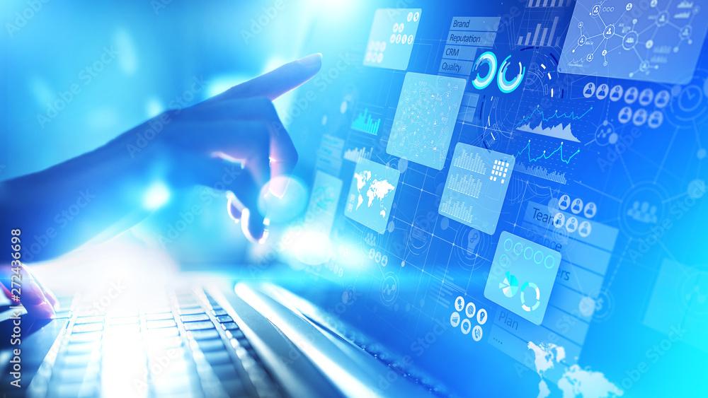 Fototapety, obrazy: Business intelligence analyst dashboard on virtual screen. Big data Graphs Charts.