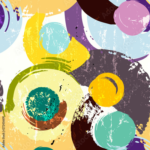 seamless background pattern, with circles, strokes and splashes, retro style