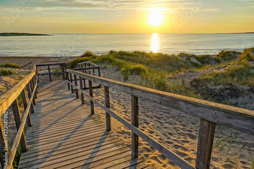 fototapeta na ścianę Wooden path at Baltic sea over sand dunes with ocean view, sunset summer evening