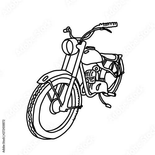 Keuken foto achterwand Motorfiets Scooter sketch. Bike print. Vector simple illustration.