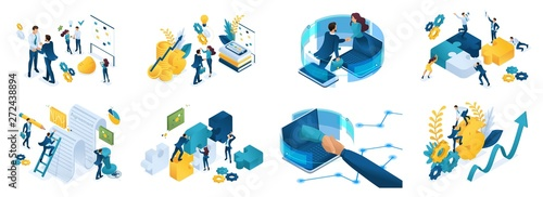 Fotografie, Obraz  Isometric set of concepts on the topic of online cooperation, agreement, financi