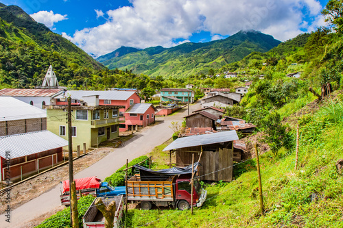 Amérique du Sud South America. Ecuador. Ecuador village in the lowlands of the Andes. Ecuadorian rural settlement. Andes mountains greenery covered. Mountain landscape of Ecuador. Travelling to South America.