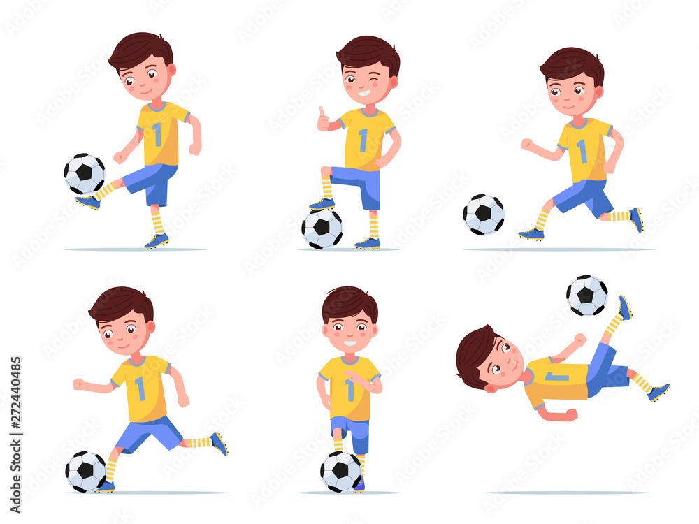 Set boy soccer player plays football