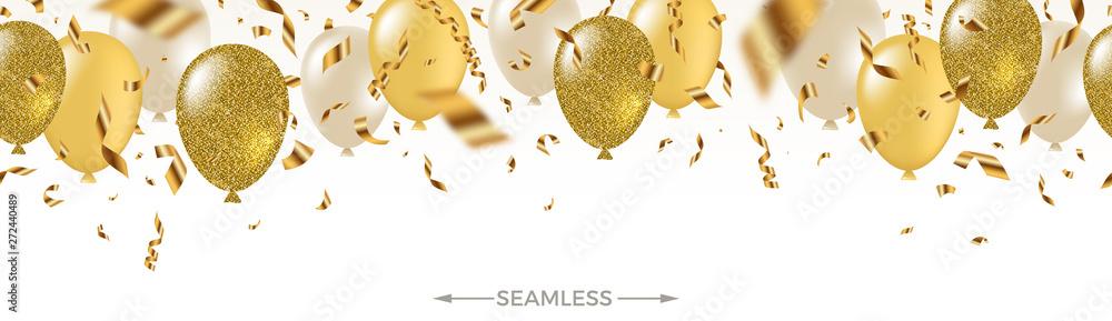 Fototapeta Celebratory seamless banner - white, yellow, glitter gold balloons and golden foil confetti. Vector festive illustration. Holiday design.