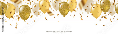 Obraz Celebratory seamless banner - white, yellow, glitter gold balloons and golden foil confetti. Vector festive illustration. Holiday design. - fototapety do salonu