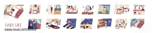 Set of everyday leisure and work activities performing by young woman. Bundle of daily life scenes. Girl sleeping, eating, working, doing sports, grocery shopping. Flat cartoon vector illustration. - 272441452