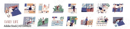 In de dag Eigen foto Bundle of daily leisure and work activities performing by young man. Set of everyday routine scenes. Guy sleeping, working, jogging, grocery shopping, relaxing. Flat cartoon vector illustration.