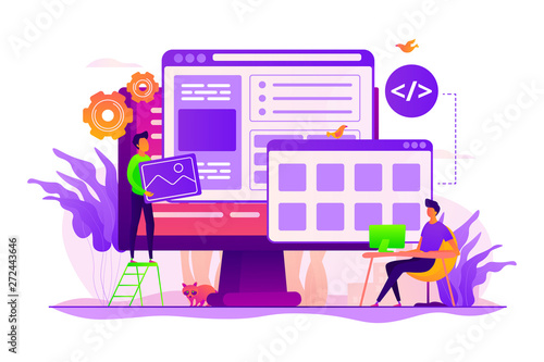Developers create internet app. Software engineering, computer technology. Website development, web application coding, design for web browsers concept. Vector isolated concept creative illustration - 272443646
