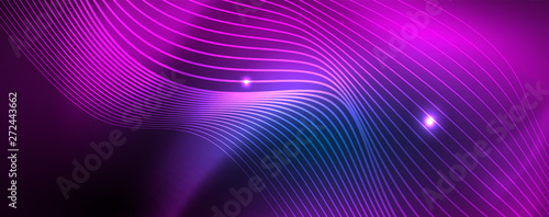Smooth wave lines on blue neon color light background. Glowing abstract wave on dark, shiny motion, magic space light - 272443662