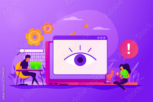 Internet defamation, persistent stalking. Privacy assault, obsessed stalker. Cyberstalking, pursuit of social identity, online false accusations concept. Vector isolated concept creative illustration - 272444234
