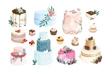 Collection Of Cakes, Tarts, Cupcakes Decorated By Icing And Cream. Bundle Of Delicious Desserts Of Modern Design Isolated On White Background. Set Of Confections. Flat Cartoon Vector Illustration.