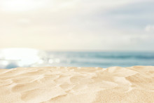 Empty Sand Beach In Front Of Summer Sea Background With Copy Space