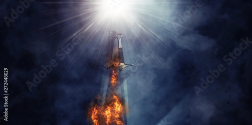 mysterious and magical photo of silver sword with fire flames over Gothic black background Fototapet