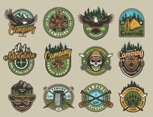 Vintage Colorful Camping Emblems