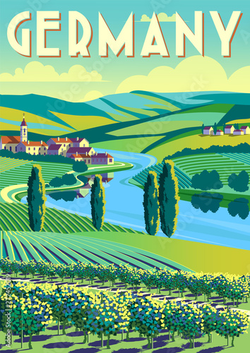 Aluminium Prints Blue Romantic rural landscape in sunny day in Germany with vineyards, farms, meadows, fields and trees in the background.