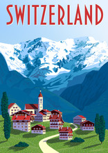 Switzerland Travel Poster. Handmade Drawing Vector Illustration.