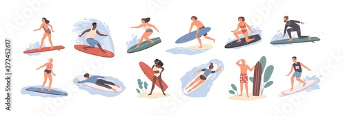 Collection of cute funny people in swimwear surfing in sea or ocean Wallpaper Mural