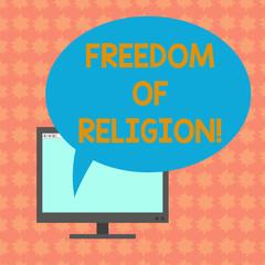 Pisać notkę pokazując wolność wyznania. Centrum biznesowe-fotografia pokazujący prawo wyznawać taką religię, każdy wybiera zainstalowany monitor pusty ekran z owalnym kolor dymek