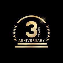 3 Year Anniversary Golden Emblem. Vector Icon Design.