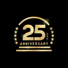 25th Year Anniversary Golden Emblem. Vector Icon.