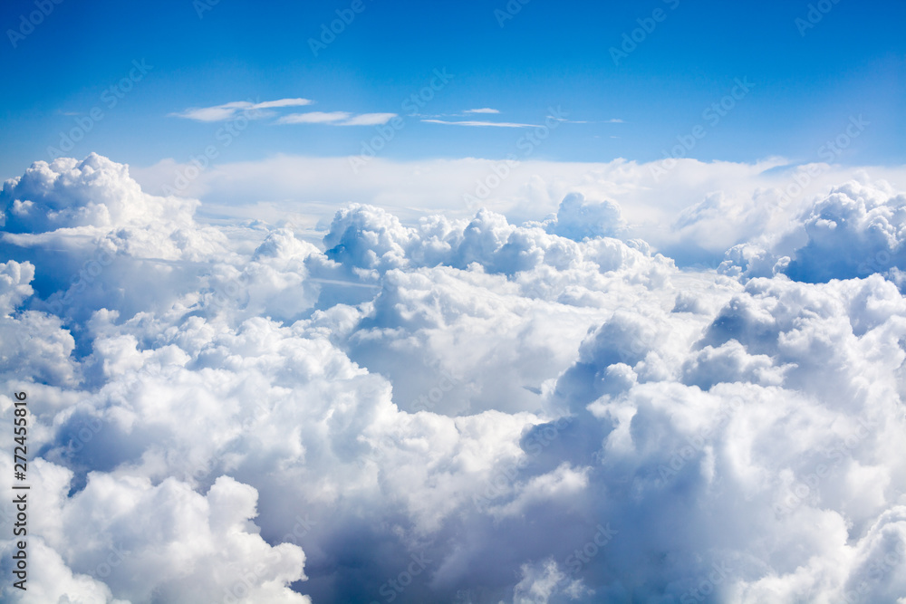 Fototapety, obrazy: White clouds on blue sky background close up, cumulus clouds high in azure skies, beautiful aerial cloudscape view from above, sunny heaven landscape, bright cloudy sky view from airplane, copy space