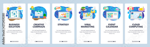 Mobile app onboarding screens. Business plan and strategy, viral marketing, email, event calendar. Menu vector banner template for website and mobile development. Web site design flat illustration - 272459280