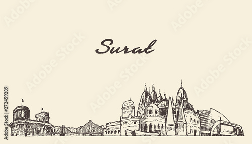 Surat skyline, Gujarat, India, drawn vector sketch