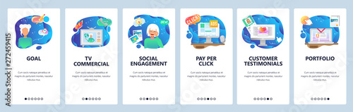 Mobile app onboarding screens. Pay per click, marketing, social engagement, customer review. Menu vector banner template for website and mobile development. Web site design flat illustration - 272459415