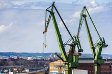 Shipyard Dock Port Transport Crane In Gdansk