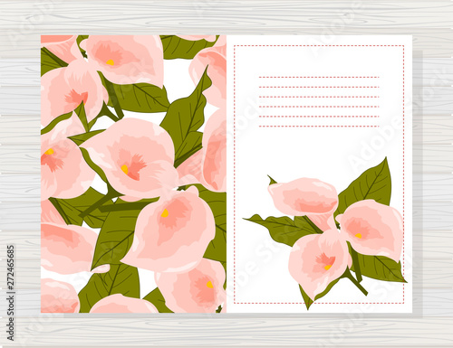 Photo Beautiful background with calla  flowers and space for text